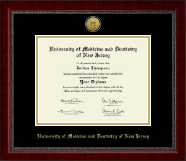 University of Medicine and Dentistry of New Jersey Diploma Frame - Gold Engraved Medallion Diploma Frame in Sutton