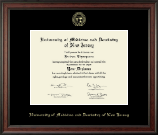 University of Medicine and Dentistry of New Jersey Diploma Frame - Gold Embossed Diploma Frame in Studio