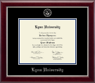 Lynn University Diploma Frame - Silver Embossed Diploma Frame in Gallery Silver