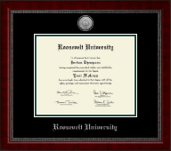 Roosevelt University Diploma Frame - Silver Engraved Medallion Diploma Frame in Sutton