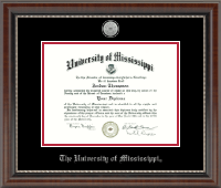 The University of Mississippi Diploma Frame - Silver Engraved Medallion Diploma Frame in Chateau