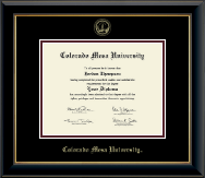 Colorado Mesa University   Diploma Frame - Gold Embossed Diploma Frame in Onyx Gold