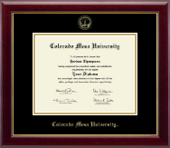 Colorado Mesa University   Diploma Frame - Gold Embossed Diploma Frame in Gallery