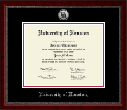 University of Houston Diploma Frame - Silver Engraved Medallion Diploma Frame in Sutton