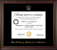 Culinary Institute of America Diploma Frame - Gold Embossed Diploma Frame in Studio