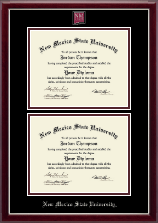 New Mexico State University in Las Cruces Diploma Frame - Masterpiece Medallion Double Diploma Frame in Gallery Silver