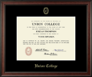 Union College in New York Diploma Frame - Gold Embossed Diploma Frame in Studio