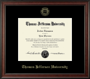 Thomas Jefferson University Diploma Frame - Gold Embossed Diploma Frame in Studio