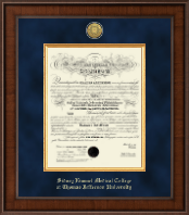 Thomas Jefferson University Diploma Frame - Presidential Gold Engraved Diploma Frame in Madison