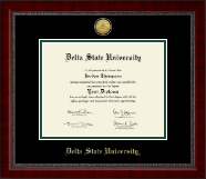 Delta State University  Diploma Frame - Gold Engraved Medallion Diploma Frame in Sutton