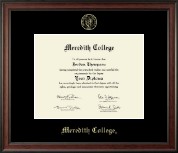 Meredith College Diploma Frame - Gold Embossed Diploma Frame in Studio