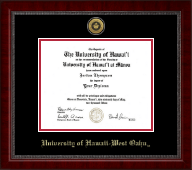University of Hawaii West Oahu Diploma Frame - Gold Engraved Medallion Diploma Frame in Sutton