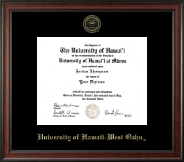 University of Hawaii West Oahu Diploma Frame - Gold Embossed Diploma Frame in Studio