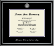 Winona State University Diploma Frame - Silver Engraved Medallion Diploma Frame in Onexa Silver