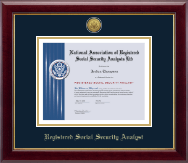 National Association of Registered Social Security Analysts Certificate Frame - Gold Engraved Medallion Certificate Frame in Gallery