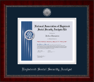 National Association of Registered Social Security Analysts Certificate Frame - Silver Engraved Medallion Certificate Frame in Sutton