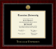 Tusculum University Diploma Frame - Gold Engraved Medallion Diploma Frame in Sutton