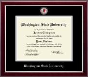 Washington State University Diploma Frame - Masterpiece Medallion Diploma Frame in Gallery Silver