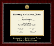 University of California Irvine Diploma Frame - Gold Engraved Medallion Diploma Frame in Sutton
