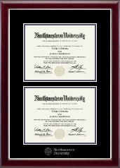 Northwestern University Diploma Frame - Double Diploma Frame in Gallery Silver
