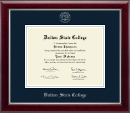 Dalton State College Diploma Frame - Silver Embossed Diploma Frame in Gallery Silver