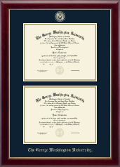 The George Washington University Diploma Frame - Masterpiece Medallion Double Diploma Frame in Gallery