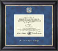 Mount Holyoke College Diploma Frame - Regal Edition Diploma Frame in Noir