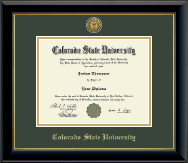 Colorado State University Diploma Frame - Gold Engraved Medallion Diploma Frame in Onyx Gold