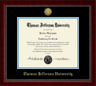 Thomas Jefferson University Diploma Frame - Gold Engraved Medallion Diploma Frame in Sutton