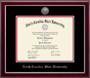 North Carolina State University Diploma Frame - Silver Engraved Medallion Diploma Frame in Gallery Silver