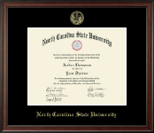 North Carolina State University Diploma Frame - Gold Embossed Diploma Frame in Studio