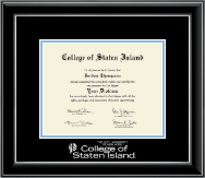 College of Staten Island Diploma Frame - Silver Embossed Diploma Frame in Onyx Silver