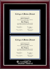 College of Staten Island Diploma Frame - Double Diploma Frame in Gallery Silver
