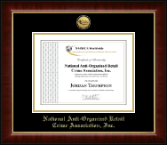 National Anti-Organized Retail Crime Association, Inc. Certificate Frame - Gold Engraved Medallion Certificate Frame in Murano