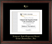 National Anti-Organized Retail Crime Association, Inc. Certificate Frame - Gold Embossed Certificate Frame in Studio