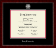 Troy University Diploma Frame - Silver Engraved Medallion Diploma Frame in Sutton