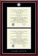 Columbia University Diploma Frame - Masterpiece Medallion Double Diploma Frame in Gallery Silver