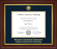 Western Governors University Diploma Frame - Gold Engraved Medallion Diploma Frame in Redding