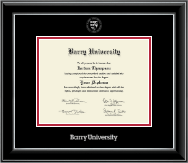 Barry University Diploma Frame - Silver Embossed Diploma Frame in Onyx Silver