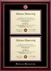Indiana University Bloomington Diploma Frame - Masterpiece Medallion Double Diploma Frame in Gallery