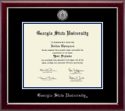 Georgia State University Diploma Frame - Silver Engraved Medallion Diploma Frame in Gallery Silver