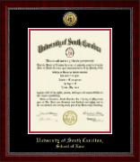 University of South Carolina School of Law Diploma Frame - Gold Engraved Medallion Diploma Frame in Sutton