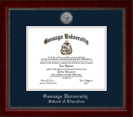 Gonzaga University Diploma Frame - Silver Engraved Medallion Diploma Frame in Sutton