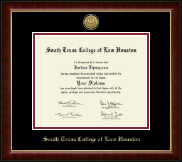South Texas College of Law Houston Diploma Frame - Gold Engraved Medallion Diploma Frame in Murano