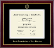 South Texas College of Law Houston Diploma Frame - Gold Embossed Diploma Frame in Gallery