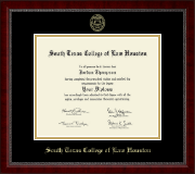 South Texas College of Law Houston Diploma Frame - Gold Embossed Diploma Frame in Sutton
