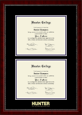 Hunter College Diploma Frame - Double Diploma Frame in Sutton