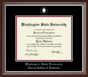 Washington State University Diploma Frame - Silver Embossed Diploma Frame in Devonshire