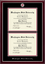 Washington State University Diploma Frame - Masterpiece Medallion Double Diploma Frame in Gallery Silver