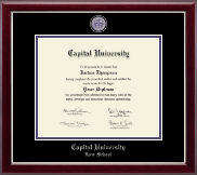Capital University Law School Diploma Frame - Masterpiece Medallion Diploma Frame in Gallery Silver